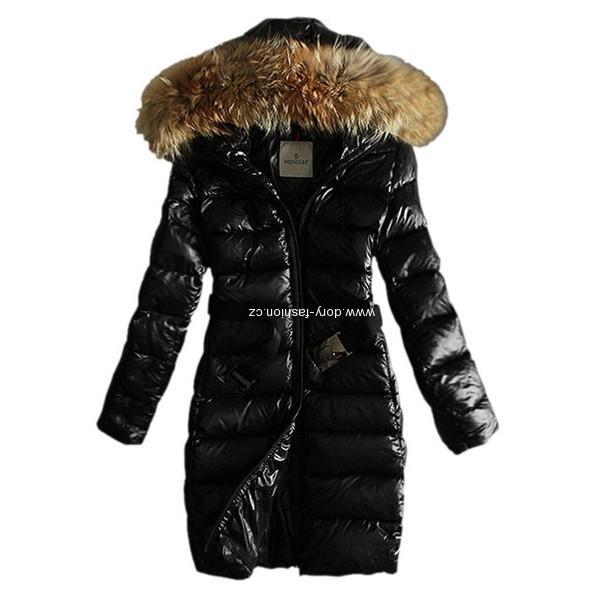 Moncler dámský kabát s kožešinou a páskem černý  4ac4762bc6f